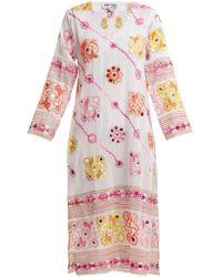 Juliet Dunn - Sequin-embellished Embroidered Cotton Dress - Lyst