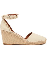 Valentino - Rockstud Wedge Grained Leather Espadrilles - Lyst