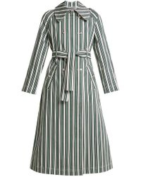 ALEXACHUNG - Striped Cotton Blend Trench Coat - Lyst