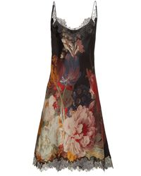 Carine Gilson - Lace Trimmed Silk Satin Slip Dress - Lyst
