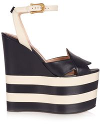 Gucci - Sally Leather Wedge Sandals - Lyst