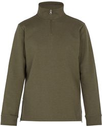 A.P.C. - High Neck Zip Up Cotton Jersey Sweatshirt - Lyst