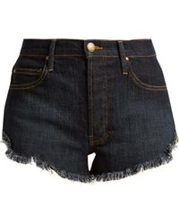 The Great - The Cut Off Raw-hem Denim Shorts - Lyst