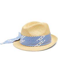 Miu Miu - Cotton Scarf-embellished Straw Hat - Lyst