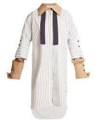 JW Anderson - Double-cuff Pinstriped Cotton Shirtdress - Lyst
