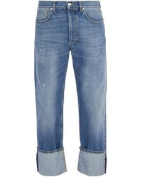 Alexander McQueen - Floral Embroidered Straight Leg Jeans - Lyst