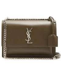 49c30cb253fa Saint Laurent Sunset Medium Leather Cross-body Bag in Gray - Lyst