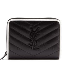 Saint Laurent - Monogramme Quilted Pebbled-leather Wallet - Lyst