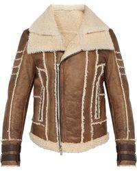 Balmain - Leather And Shearling Biker Jacket - Lyst