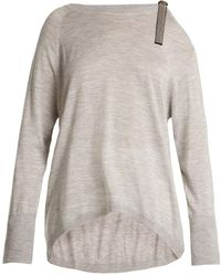 Brunello Cucinelli - Cut-out Shoulder Cashmere-blend Jumper - Lyst