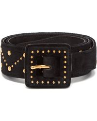 Saint Laurent - Studded Suede Belt - Lyst
