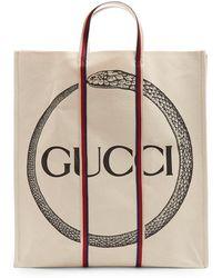 Gucci - Ouroboros Print Cotton Tote Bag - Lyst