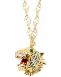 Gucci - Crystal Embellished Tiger Head Necklace - Lyst