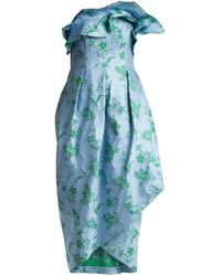 Carolina Herrera - Ruffle Trimmed Floral Jacquard Dress - Lyst