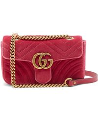 e79fa22e2ff Lyst - Gucci Gg Marmont Mini Quilted-velvet Cross-body Bag in Blue