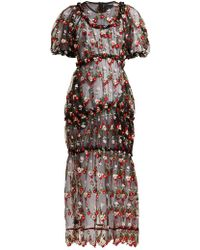 Simone Rocha Floral Embroidered Tulle Midi Dress