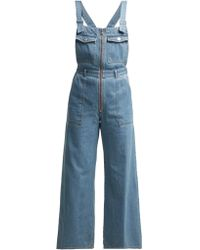 Sea - Washed Denim Wide Leg Cropped Dungarees - Lyst