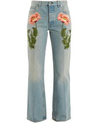 Gucci | Flower-embroidered Straight-leg Jeans | Lyst