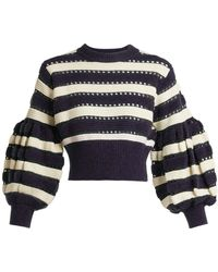 Self-Portrait - Striped Open-knit Cotton And Wool-blend Sweater - Lyst