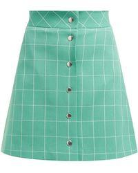 Sara Battaglia - High Rise Checked Crepe Mini Skirt - Lyst