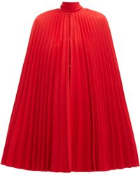 Valentino Pleated Virgin Wool Cape