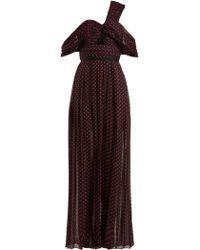 Self-Portrait - Polka Dot Print One Shoulder Maxi Dress - Lyst