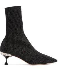Miu Miu - Metallic Ribbed-knit Sock Ankle Boots - Lyst