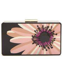 Valentino - - Floral Perspex Minaudière Clutch - Womens - Black Pink - Lyst