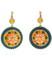 Dolce & Gabbana - Floral-drop Crystal-embellished Earrings - Lyst
