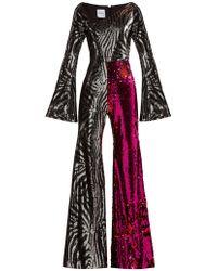 Halpern - Zebra Pattern Sequined Jumpsuit - Lyst
