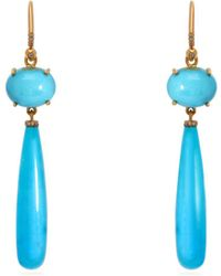 Irene Neuwirth - 18kt Gold, Diamond & Kingman Turquoise Earrings - Lyst