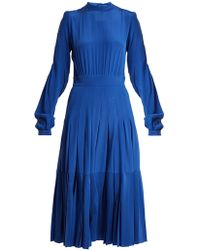 Rochas - Pleated Silk Crepe De Chine Midi Dress - Lyst