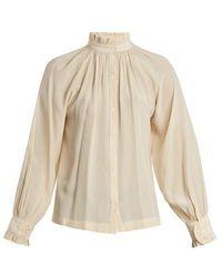 MASSCOB - Frill-trimmed Stitch-detail Silk Shirt - Lyst