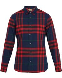 Burberry - Point-collar Checked Cotton-flannel Shirt - Lyst