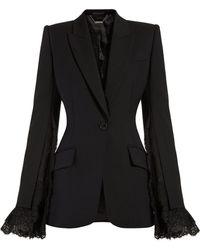 Alexander McQueen - Blazer à boutonnage simple et détails en dentelle - Lyst