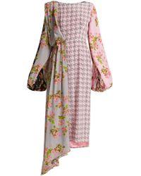 Natasha Zinko - Floral-panel Houndstooth Silk Midi Dress - Lyst