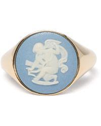 Ferian - Wedgwood Ceramic Cherub & Gold Signet Ring - Lyst