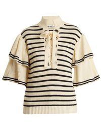 Self-Portrait - Flared-sleeve Striped Cotton-blend Jumper - Lyst