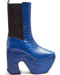 Marques'Almeida - Crocodile Effect Leather Platform Boots - Lyst