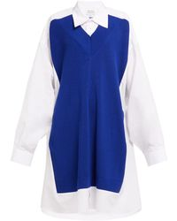 Maison Margiela - Wool Panelled Cotton Poplin Shirtdress - Lyst