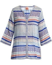 Le Sirenuse - Geometric Sea Print Cotton Shirt - Lyst