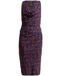 Vivienne Westwood Anglomania - Draped Floral Print Midi Dress - Lyst