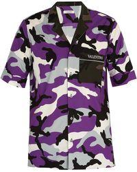Valentino - Camouflage Print Cotton Shirt - Lyst