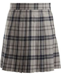 Thom Browne - Checked Pleated Wool-blend Skirt - Lyst
