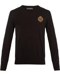 Dolce & Gabbana - Embellished Logo-crest Cotton Sweater - Lyst