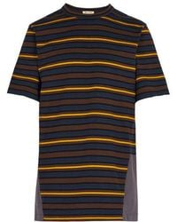 Marni - Striped Contrast-panel Cotton T-shirt - Lyst