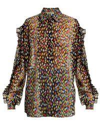 Marco De Vincenzo - Multicoloured Leopard-print Silk-georgette Blouse - Lyst
