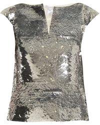 Oscar de la Renta - V-neck Sequin-embellished Top - Lyst