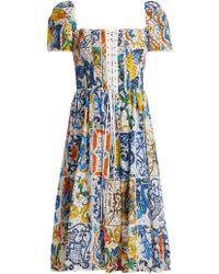 Dolce & Gabbana - Majolica-print Cotton Broderie-anglaise Midi Dress - Lyst