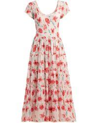 Athena Procopiou - Scoop-neck Floral-print Dress - Lyst